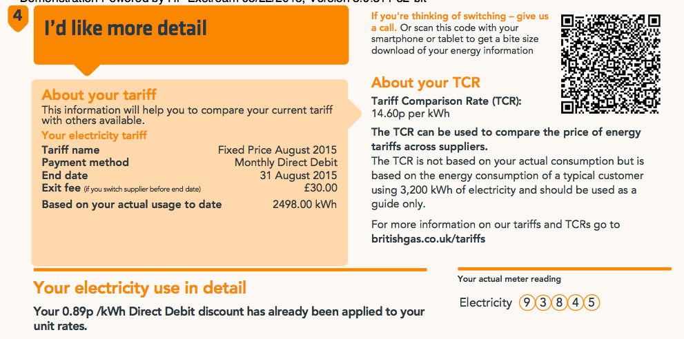 energy bill sample with qr code