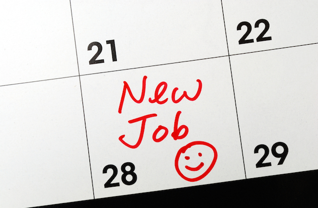 new job marked on calendar