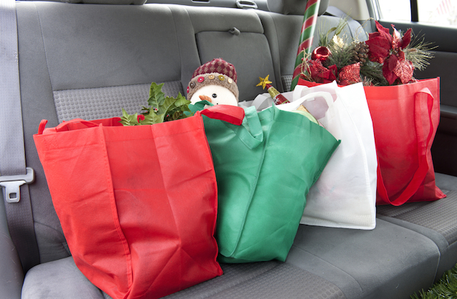 Christmas presents on car seat