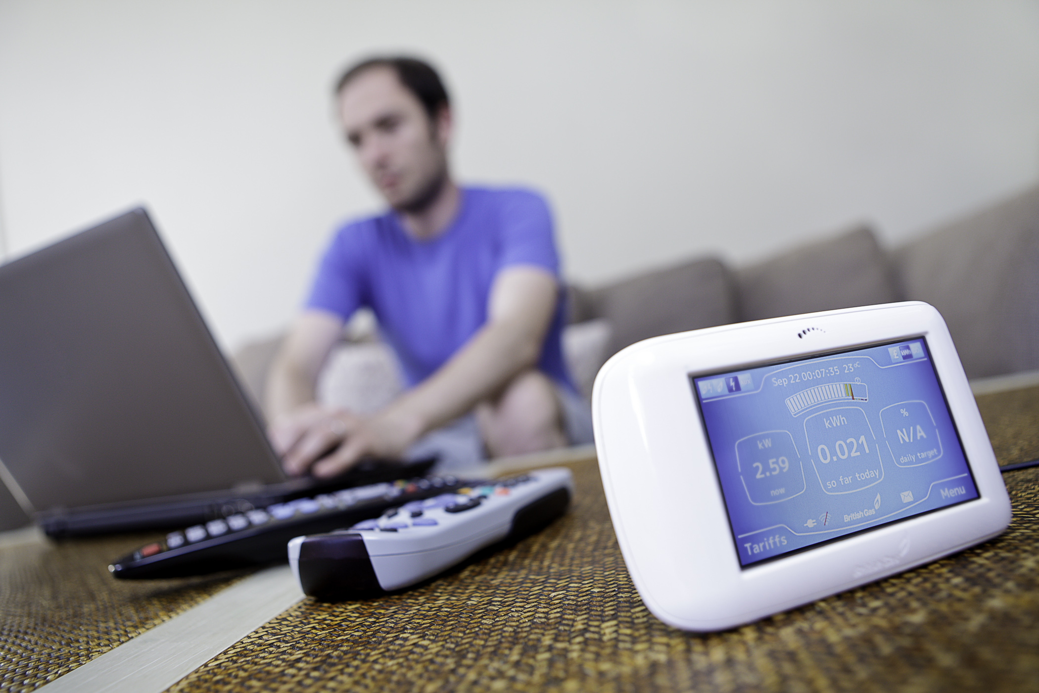 "British Gas' energy monitor, the ""Pebble"" in domestic settings"