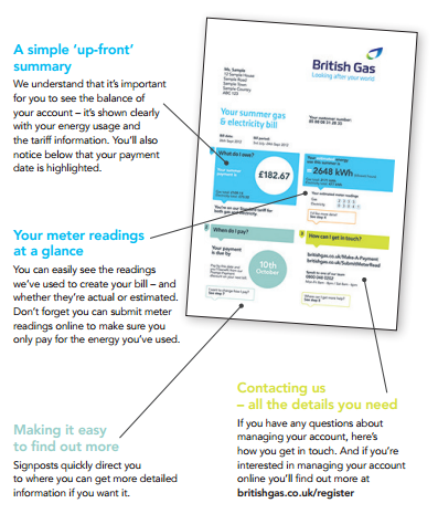 British Gas energy bill (Front)