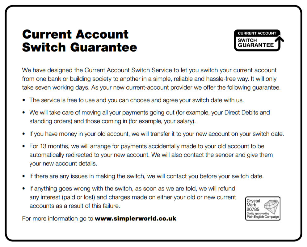 What is the current account switch guarantee