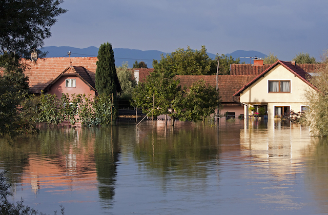 Flooded houses