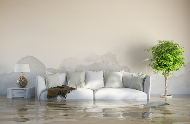 flooding in a living room that could have been covered by flood risk home insurance